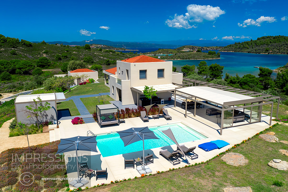 Aerial Images and Video Services for luxury villas Greece