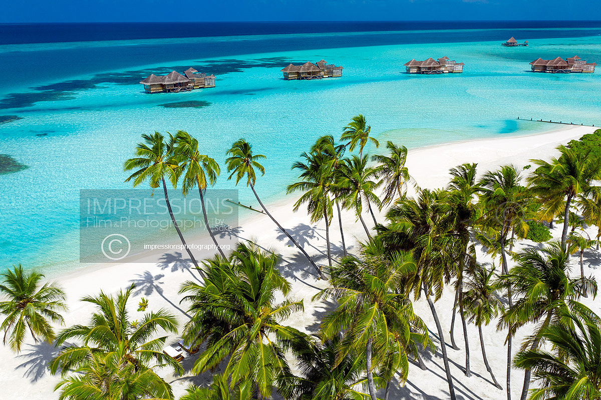 Aerial drone photography luxury hotel maldives