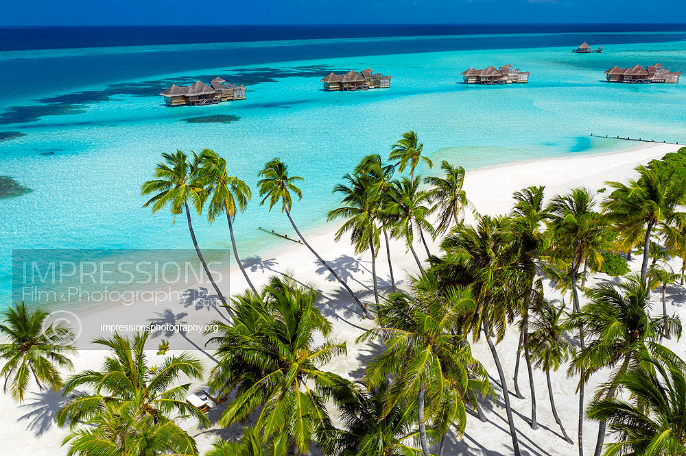 Aerial photography luxury resort Gili Lankanfushi Maldives