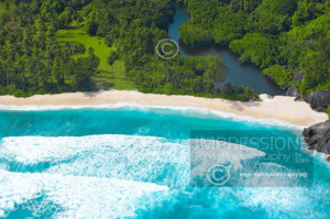 Aerial view from beach, Seychelles