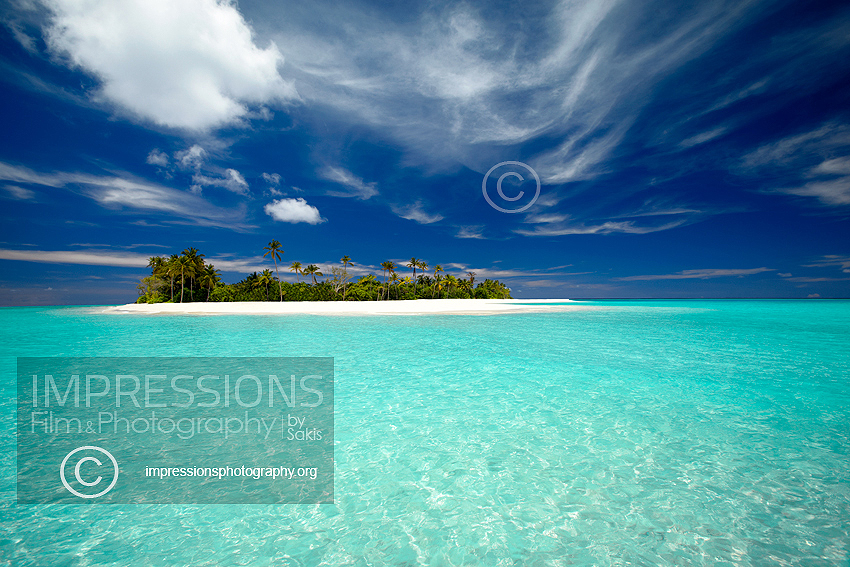 Deserted tropical island and lagoon,Maldives stock photo