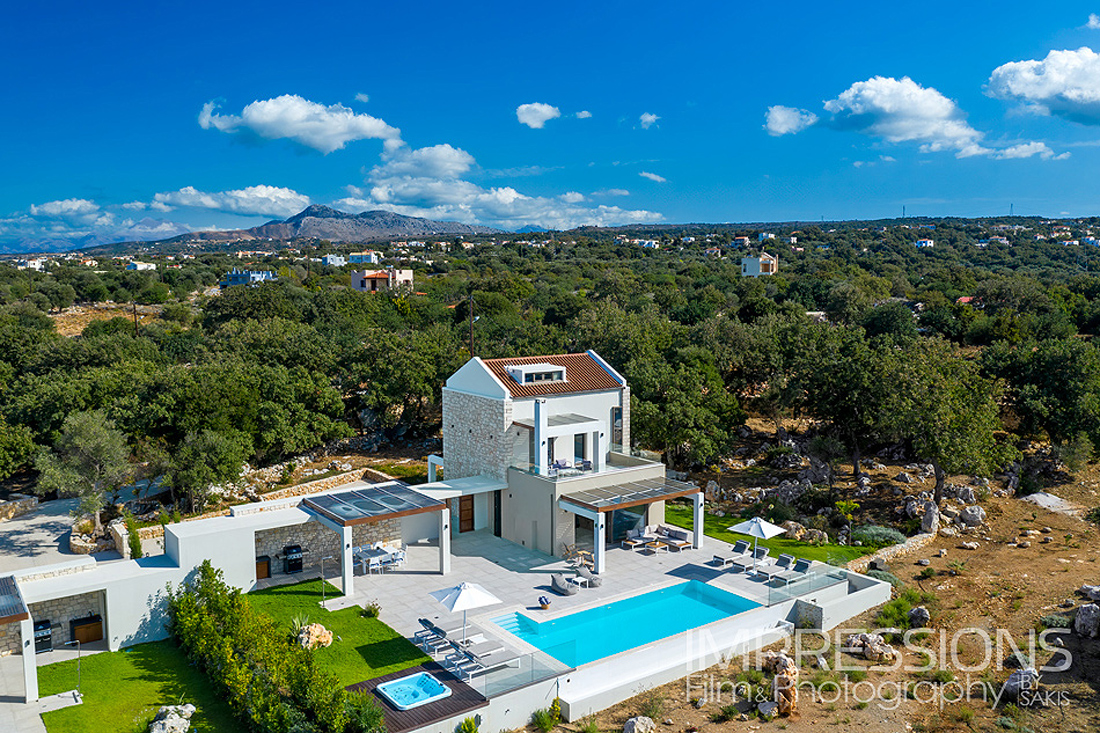 Drone photography luxury villa crete island