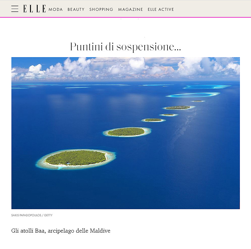 Aerial image Maldives Elle magazine photo Sakis Papadopoulos