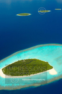 Maldives, aerial view of desert islands baa atoll
