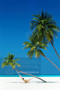Maldives, woman on beach, lying in hammock and palm tree