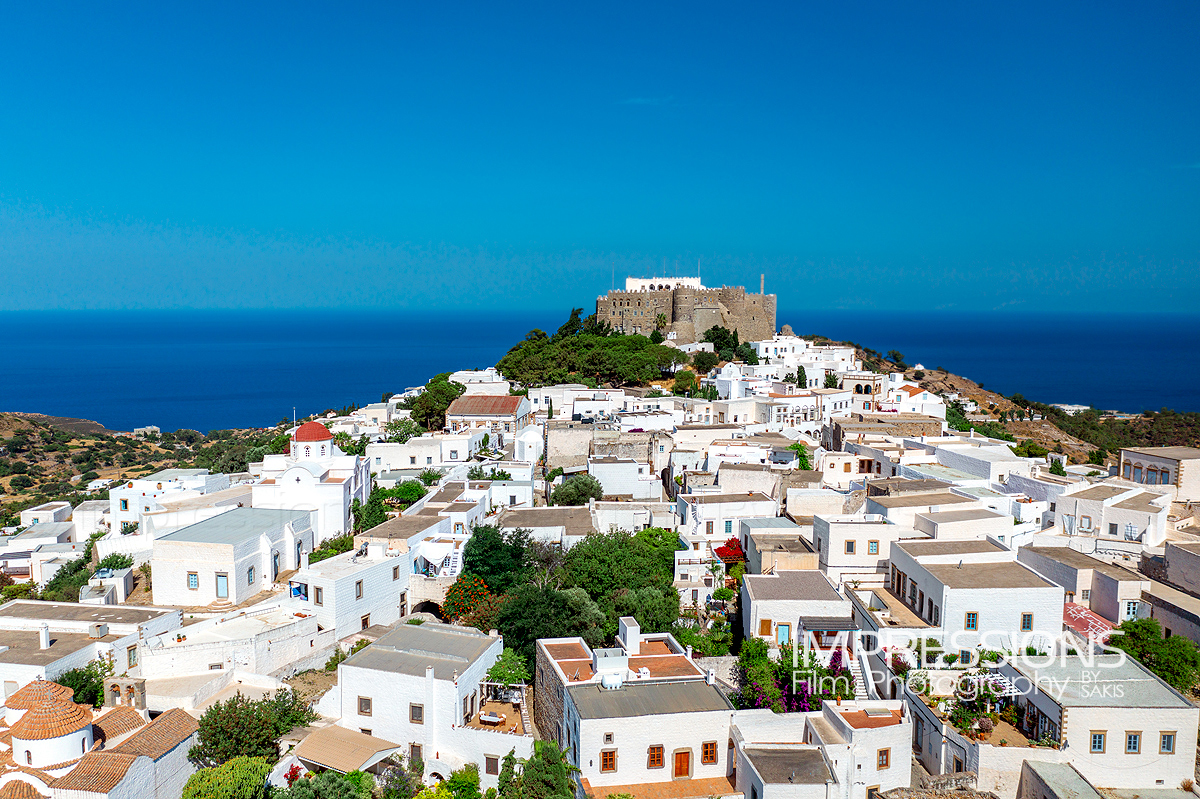 Patmos Island, chora and of the Monastery of Saint John the Theologian, UNESCO World Heritage, aerial view.