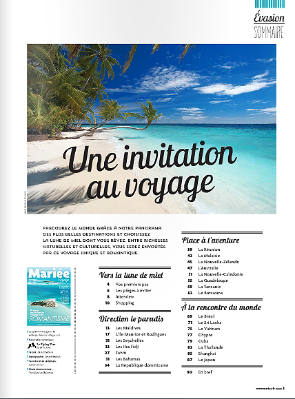 Latest Publication editorial Travel Marie Claire France