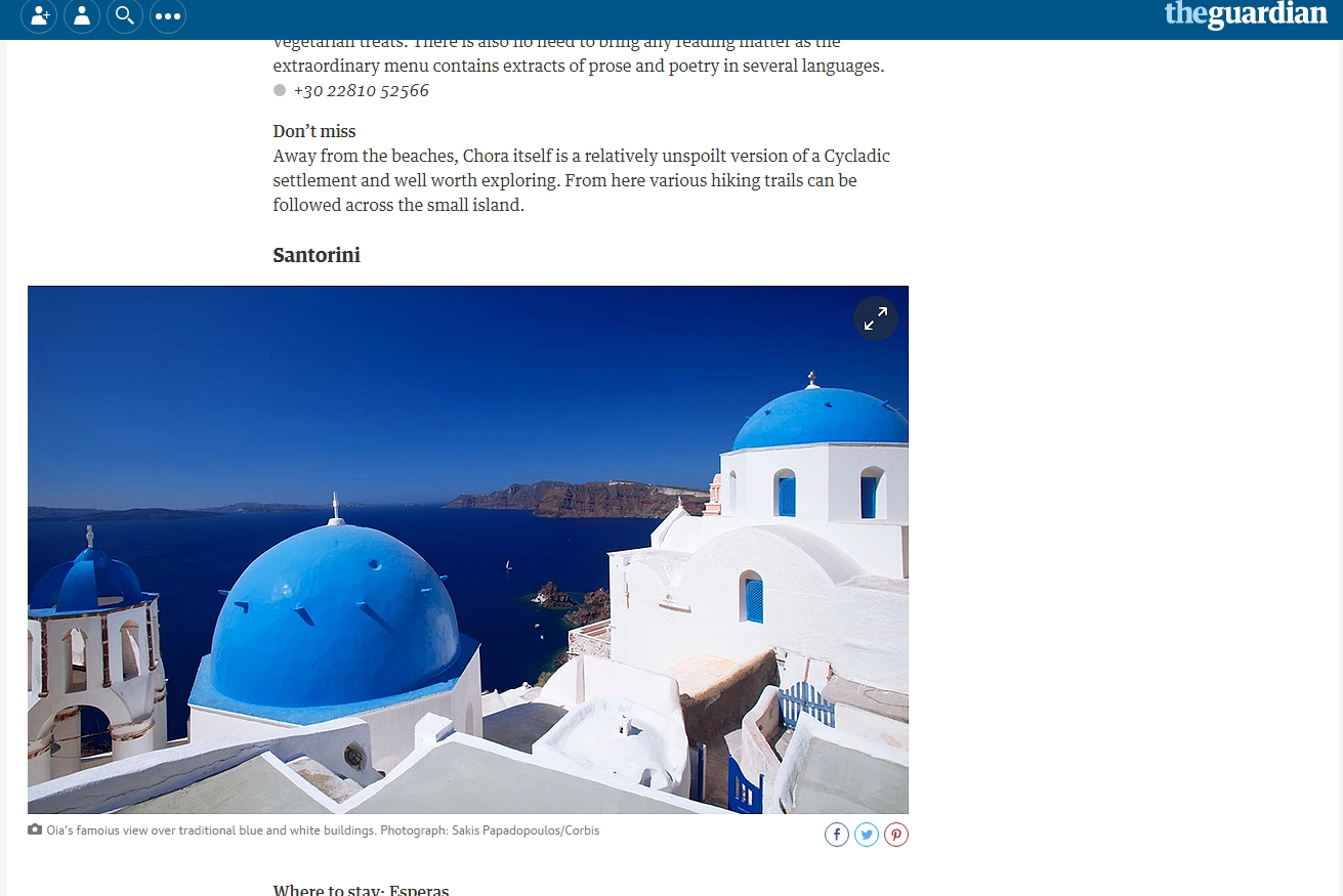 Photo Santorini by Sakis Papadopoulos for the guardian
