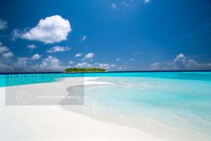 Tropical island and sandbank maldives stock photo