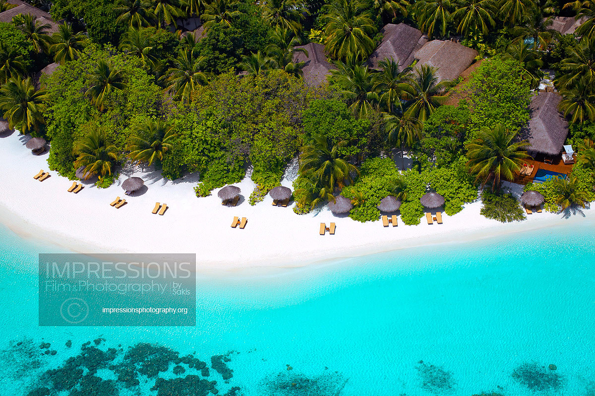 aerial photography luxury hotel maldives