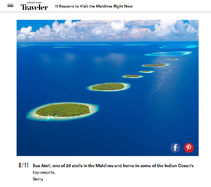 Maldives Footages and Photos featured in Conde Nast Traveler Video