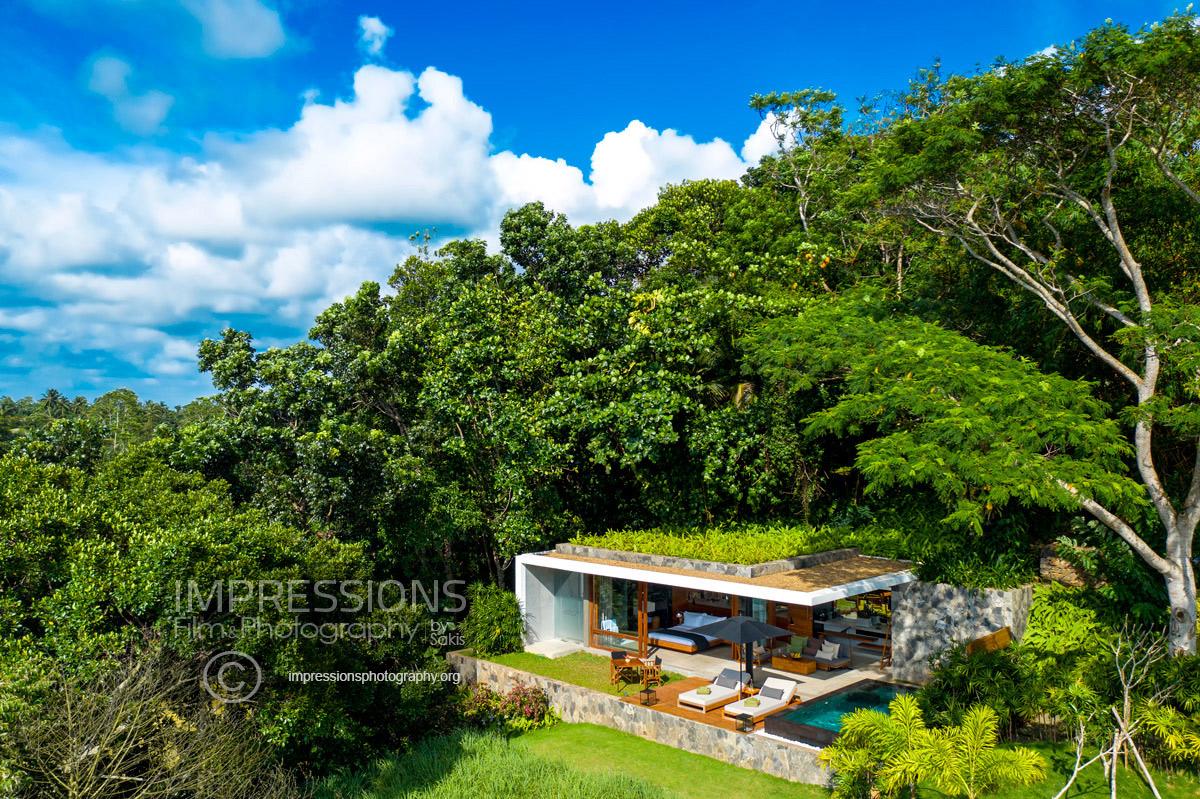 luxury villa aerial drone photography