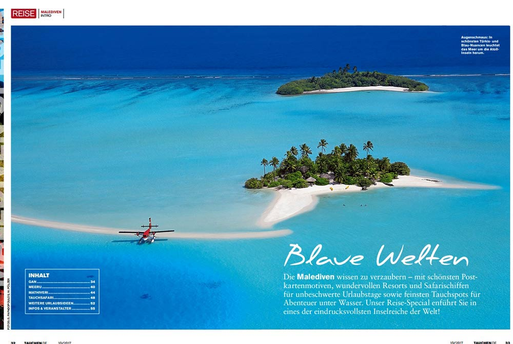 maldives travel and aerial stock photo tauchen magazine