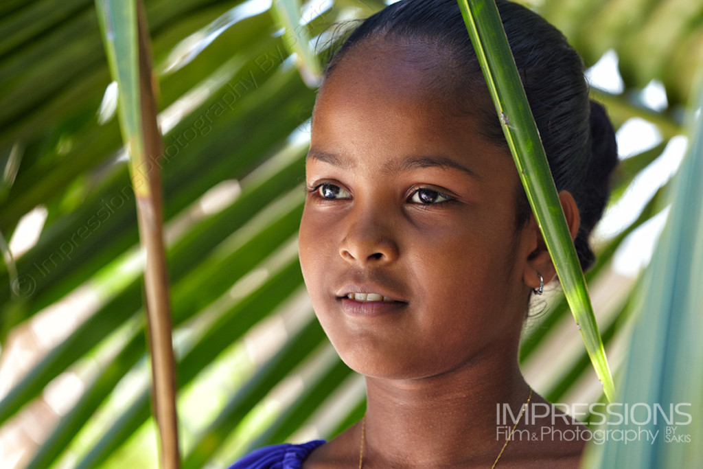 portrait of a young girl on a Maldives local island